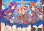 4girls :d :o ;d black_legwear blue_eyes blue_skirt blue_sky bow brown_hair cloud commentary day doki_doki_literature_club english_commentary eyebrows_visible_through_hair green_eyes grey_jacket hair_bow hair_ribbon holding_hands indoors interlocked_fingers jacket long_hair looking_at_viewer monika_(doki_doki_literature_club) multiple_girls natsuki_(doki_doki_literature_club) one_eye_closed open_clothes open_jacket open_mouth pink_eyes pink_hair pleated_skirt ponytail purple_eyes purple_hair red_bow ribbon sayori_(doki_doki_literature_club) school_uniform short_hair skirt sky smile thighhighs two_side_up very_long_hair white_ribbon window xhunzei yuri_(doki_doki_literature_club)