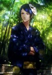 1boy blue_eyes blue_hair blue_kimono crossed_arms forest fox_mask highres japanese_clothes kimono kitagawa_yuusuke looking_away male_focus mask mask_on_head nature outdoors persona persona_5 solo standing takumi_(pixiv79547)
