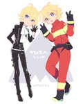 ahoge alpha_omega_nova belt black_gloves black_jacket blonde_hair blue_eyes boots bright_pupils buckle company_connection cosplay cravat dated double_v dual_persona firefighter gloves highres jacket lio_fotia lio_fotia_(cosplay) mt.somo multicolored_hair pouch promare spoilers standing standing_on_one_leg streaked_hair trigger_(company) uchuu_patrol_luluco v