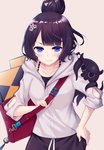 1girl bag black_hair blue_eyes casual chromatic_aberration closed_mouth collarbone commentary_request fate/grand_order fate_(series) hair_bun hair_ornament hand_on_hip highres hood hood_down katsushika_hokusai_(fate/grand_order) ko_yu looking_at_viewer octopus short_hair simple_background sketchbook smile solo