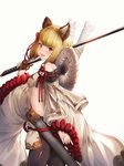 1girl absurdres animal_ears bangs bare_shoulders blonde_hair braid breasts detached_sleeves dog_ears erune fang granblue_fantasy highres japanese_clothes looking_at_viewer ohihil open_mouth pantyhose rope scabbard sheath shimenawa short_hair sideboob solo sword vajra_(granblue_fantasy) weapon