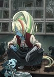 1girl bandages bird biting blonde_hair broken_window collar commentary_request dog facial_scar fangs geruanata0301 hair_over_one_eye handheld_game_console jacket letterman_jacket long_hair looking_at_viewer multicolored_hair nikaidou_saki ponytail rags romero_(zombie_land_saga) scar shoes single_shoe spiked_collar spikes streaked_hair tamagotchi tiles undone_necktie v-shaped_eyebrows yellow_eyes zombie zombie_land_saga