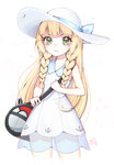 1girl :3 >:3 bag bangs blonde_hair blue_ribbon blunt_bangs braid collared_dress commentary_request cowboy_shot dress duffel_bag flat_chest green_eyes hat hat_ribbon lillie_(pokemon) long_hair looking_at_viewer poke_ball_theme pokemon pokemon_(game) pokemon_sm ribbon see-through signature simple_background sleeveless sleeveless_dress solo sun_hat sundress tamago_(6egg_9508) twin_braids white_background white_dress white_hat