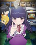 1girl aiming_at_viewer arcade arcade_cabinet artist_request ax_battler bird black_hair capcom chair coin controller damaged dhalsim dirty dress eagle final_fight final_fight_i gai_(final_fight) golden_axe gradius high_score_girl hime_cut joystick key_visual king_of_the_monsters konami long_hair looking_at_viewer makaimura mike_haggar money monster multiple_boys namco neo_geo official_art official_style oono_akira promotional_art pushbutton rick_(splatterhouse) screen sega snk splatterhouse street_fighter street_fighter_ii_(series) tossing video_game yaguchi_haruo yen yen_sign zangief