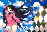 1girl arm_up ayamy bangs black_hair blue_sky blurry blush bow checkered checkered_flag closed_mouth cloud cloudy_sky confetti contrapposto cowboy_shot crown day depth_of_field earrings eyebrows_visible_through_hair fate/grand_order fate_(series) flag floating_hair fur-trimmed_hood fur-trimmed_legwear fur_trim hair_bow highleg highleg_swimsuit holding holding_flag hood hoodie hoop_earrings ishtar_(fate/grand_order) ishtar_(swimsuit_rider)_(fate) jewelry lens_flare long_hair looking_at_viewer motion_blur one-piece_swimsuit outdoors pink_legwear red_eyes single_thighhigh sky smile solo sparkle standing swimsuit swimsuit_under_clothes thighhighs thighs two_side_up very_long_hair white_swimsuit