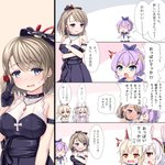 /\/\/\ 4girls 4koma :d :o ^_^ animal_ears ayanami_(azur_lane) azur_lane bangs bare_shoulders black_dress black_gloves blue_eyes blue_sailor_collar blush breast_hold breasts brown_hair bunny_ears closed_eyes comic commentary_request crown dress eyebrows_visible_through_hair gloves hair_between_eyes hair_ribbon hairband half_gloves headgear high_ponytail highres jacket javelin_(azur_lane) laffey_(azur_lane) light_brown_hair long_hair long_sleeves medium_breasts mini_crown multiple_girls open_clothes open_jacket open_mouth pink_jacket ponytail profile purple_hair purple_ribbon red_eyes red_hairband ribbon sailor_collar shirt sidelocks silver_hair sleeveless sleeveless_dress sleeveless_shirt smile sweat tilted_headwear translation_request twintails u2_(5798239) v-shaped_eyebrows very_long_hair white_camisole white_shirt z23_(azur_lane)