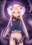 1girl abigail_williams_(fate/grand_order) absurdres bangs between_legs black_bow black_dress black_hat blonde_hair blush bow bug butterfly commentary_request dress dress_lift eyebrows_visible_through_hair fate/grand_order fate_(series) forehead groin hair_bow hat highres insect lifted_by_self long_hair long_sleeves looking_at_viewer navel no_panties nose_blush open_mouth orange_bow parted_bangs polka_dot polka_dot_bow red_eyes sleeves_past_fingers sleeves_past_wrists solo tentacles upper_teeth very_long_hair zuizhong