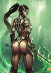 1girl ass black_hair commentary covered_face curvy cyborg fire from_behind genderswap genderswap_(mtf) genji_(overwatch) glowing glowing_sword glowing_weapon green_fire kachima katana long_hair ninja overwatch ponytail solo sword visor weapon
