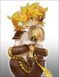 2boys bare_shoulders black_border blonde_hair blush border cowboy_shot detached_sleeves dual_persona english gradient gradient_background green_eyes headset hug ishitake_(syotauho) kagamine_len kagamine_len_(append) looking_at_another male_focus midriff multiple_boys navel ponytail signature v4x vocaloid vocaloid_append
