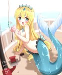 1girl :o arm_support bangs blonde_hair blue_eyes blurry blurry_foreground blush boat breasts commentary_request covering covering_breasts depth_of_field eyebrows_visible_through_hair fishing_hook fishing_line fishing_lure fishing_rod hair_between_eyes head_fins highres large_breasts long_hair looking_at_viewer mermaid monster_girl navel non_(wednesday-classic) ocean open_mouth original shell shell_bikini solo very_long_hair water watercraft wet wet_hair