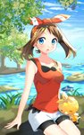 bangs bike_shorts black_shorts blue_eyes blue_sky bow breasts brown_hair collarbone day hair_bow hairband haruka_(pokemon) highres long_hair looking_at_viewer medium_breasts open_mouth outdoors parted_bangs pokemon pokemon_(game) pokemon_oras red_hairband red_shirt shirt shorts shorts_under_shorts sitting sky sleeveless sleeveless_shirt torchic tree twintails water white_shorts yuihiko