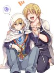 2boys ^_^ bad_id bad_pixiv_id blonde_hair blue_eyes cape closed_eyes crossover freckles hanzou_(sumomomo_momomo) hood japanese_clothes kouta_(ajtda) male_focus multiple_boys necktie open_mouth sitting smile spoken_squiggle squiggle sumomomo_momomo sweat touken_ranbu yamanbagiri_kunihiro