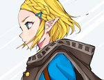 1girl absurdres bangs blonde_hair blue_jacket braid cape commentary_request crown_braid from_side green_eyes hair_ornament hairclip highres jacket nyokki763 parted_bangs pointy_ears princess_zelda short_hair simple_background solo the_legend_of_zelda the_legend_of_zelda:_breath_of_the_wild the_legend_of_zelda:_breath_of_the_wild_2 thick_eyebrows upper_body white_background
