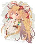 1girl animal animal_ears animal_hug bandeau bangs bare_shoulders bird blonde_hair blush character_name chicken closed_mouth detached_sleeves eip_(pepai) eyebrows_visible_through_hair granblue_fantasy grey_background hair_between_eyes hair_ornament harvin holding holding_animal long_hair long_sleeves looking_at_viewer mahira_(granblue_fantasy) orange_hair red_bandeau red_eyes simple_background solo two-tone_background upper_body very_long_hair white_background white_sleeves wide_sleeves