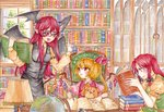 3girls armband black_skirt blonde_hair book book_stack bookshelf braid chair day demon_wings fingernails flandre_scarlet fountain_pen glasses globe hair_ribbon hat hat_removed head_wings headwear_removed hong_meiling index_finger_raised indoors inkwell koakuma lamp long_hair long_sleeves looking_at_another multiple_girls no_hat no_headwear oota_(ikumi1110) open_book open_mouth orange_shirt pen pointy_ears puffy_short_sleeves puffy_sleeves reading red-framed_eyewear red_eyes red_hair red_vest ribbon shirt short_hair short_sleeves side_ponytail sitting skirt standing stuffed_animal stuffed_toy sweat table teddy_bear touhou traditional_media tress_ribbon twin_braids very_long_hair vest waistcoat watercolor_(medium) window wings