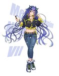 1girl alternate_costume background_text bangs belt belt_buckle black_jacket blue_eyes breast_pocket breasts buckle casual cleavage collarbone crossed_legs denim full_body hair_ornament highres jacket jeans jewelry large_breasts long_hair long_sleeves medium_breasts navel necklace neptune_(series) next_purple pants parted_lips pocket purple_hair purple_heart shin_jigen_game_neptune_vii shoes solo thigh_gap very_long_hair watson_cross white_background white_crow white_footwear wristband