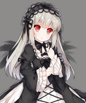 1girl bad_id bad_pixiv_id bangs black_dress black_neckwear black_ribbon black_wings blunt_bangs blush closed_mouth detached_collar dress expressionless eyebrows_visible_through_hair eyelashes frilled_sleeves frills grey_background hairband hand_on_own_chest layered_sleeves lolita_fashion lolita_hairband long_hair long_sleeves neck_ribbon red_eyes ribbon rozen_maiden sidelocks silver_hair simple_background solo suigintou tengxiang_lingnai upper_body wings