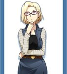 1girl android_18 bespectacled blonde_hair breasts denim dragon_ball dragon_ball_z earrings frown glasses hand_on_own_chin jewelry medium_breasts purple_eyes ricci_escutin short_hair skirt solo vest