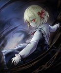 1girl abstract_background arms_up black_skirt black_vest blonde_hair capelet commentary_request darkness expressionless frilled_capelet frilled_skirt frills from_side glowing glowing_eyes gradient gradient_background hair_between_eyes hair_ribbon head_tilt highres looking_at_viewer looking_back no_legs outstretched_arms red_eyes red_neckwear ribbon rumia shirt skirt solo spark621 spread_arms thick_eyebrows touhou vest white_shirt