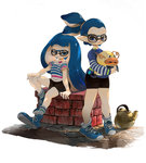 1boy 1girl arm_support bike_shorts blue_eyes blue_hair casual denchinamazu fish glasses hand_on_own_knee holding inkling kettle long_hair long_sleeves looking_at_viewer minato_(minat0) shirt shoes short_hair short_sleeves single_vertical_stripe sitting smile sneakers socks splatoon standing striped striped_legwear tentacle_hair topknot white_background white_legwear