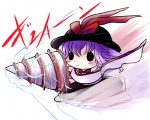 1girl :3 blush_stickers bow chibi drill gameplay_mechanics hat nagae_iku purple_hair solo touhou yume_shokunin