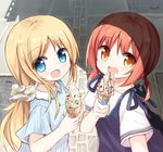 2girls :d blonde_hair blue_eyes commentary_request eyes_visible_through_hair hair_ornament hair_scrunchie ice_cream_cone long_hair looking_at_viewer medium_hair multiple_girls open_mouth orange_hair original scrunchie short_twintails smile twintails yuuhagi_(amaretto-no-natsu)