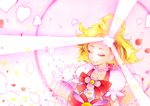 1girl absurdres blonde_hair bow closed_eyes cure_flora dress flower flower_necklace glowing go!_princess_precure hair_flower hair_ornament haruno_haruka henshin highres jewelry marker_(medium) mikan_(mikataaaa) necklace petals precure puffy_short_sleeves puffy_sleeves short_sleeves traditional_media