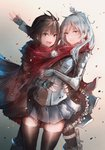 2girls alternate_costume anonamos blue_eyes boots brown_hair cape commentary earrings expressionless fingerless_gloves frilled_skirt frills gloves hair_ornament hairpin highres holstered_weapon hug jacket jewelry knife leg_strap long_hair multiple_girls red_scarf ruby_rose rwby scarf shared_scarf short_hair silver_eyes skindentation skirt smile thighhighs weiss_schnee white_hair yuri zettai_ryouiki