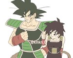 1boy 1girl armor bardock bare_arms bare_shoulders black_eyes black_hair clenched_hand dragon_ball eyebrows_visible_through_hair frown gine happy height_difference looking_at_another scar short_hair simple_background smile spiked_hair tail twitter_username upper_body white_background wristband
