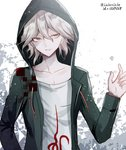 1boy @ artist_name collarbone commentary_request danganronpa dice eyebrows_visible_through_hair green_hoodie green_jacket grey_eyes hair_between_eyes hand_up hood hoodie jacket komaeda_nagito looking_to_the_side messy_hair number open_clothes open_hoodie shirt smile solo super_danganronpa_2 upper_body white_hair white_shirt z-epto_(chat-noir86)
