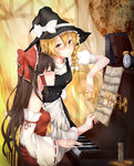2girls alarm_clock analog_clock apron bangs bare_shoulders beamed_semiquavers black_dress blonde_hair blush bow braid brown_hair buttons candle candlestand clock closed_eyes crotchet curtains detached_sleeves dress fine_art_parody flat_sign hair_between_eyes hair_bow hair_ribbon hair_tubes hakurei_reimu hat hat_bow highres instrument kirisame_marisa long_hair looking_at_another multiple_girls music nontraditional_miko parody piano playing_instrument profile puffy_sleeves ribbon ribbon-trimmed_sleeves ribbon_trim rokukatamari sheet_music side_braid sidelocks single_braid sleeveless smile touhou treble_clef waist_apron witch_hat