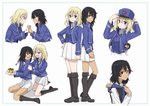 2girls absurdres adjusting_headwear andou_(girls_und_panzer) angry back-to-back bangs bc_freedom_(emblem) bc_freedom_military_uniform bc_freedom_school_uniform black_footwear black_hair black_vest blank_eyes blonde_hair blue_eyes blue_headwear blue_jacket blue_sweater blue_vest blush boots border brown_eyes cake chibi clinging commentary cropped_torso dark_skin dress_shirt emblem fighting food fork frown girls_und_panzer grey_border grimace hand_on_another's_arm hand_on_headwear hand_on_hip hands_together hat high_collar highres holding holding_fork holding_hands holding_plate huge_filesize interlocked_fingers jacket knee_boots kneeling long_sleeves looking_at_another looking_at_viewer medium_hair messy_hair military military_hat military_uniform minigirl miniskirt multiple_girls open_mouth oshida_(girls_und_panzer) plate pleated_skirt reisaki_(tokisaki24) school_uniform shako_cap shirt simple_background sitting skirt smile standing sweater sweater_around_neck thighs uniform v-shaped_eyes vest wariza white_background white_shirt white_skirt wing_collar