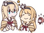 3girls ? ark_royal_(kantai_collection) bangs betchan blonde_hair blue_eyes blunt_bangs braid closed_eyes commentary_request cosplay cropped_torso crossover crown dress flower french_braid hairband jewelry kantai_collection long_hair long_sleeves mini_crown multiple_girls necklace off-shoulder_dress off_shoulder real_life red_flower red_ribbon red_rose ribbon rose seiyuu_connection uchida_shuu warspite_(kantai_collection) warspite_(kantai_collection)_(cosplay) white_dress