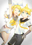 1boy 1girl :d ;d arm_up armpits black_legwear black_shorts blonde_hair bow bowtie brother_and_sister collarbone eyebrows_visible_through_hair green_eyes grin hair_ribbon hairband hand_on_hip headphones kagamine_len kagamine_rin kikuchi_mataha nail_polish necktie one_eye_closed open_mouth pink_nails ribbon shirt short_hair short_sleeves shorts siblings sleeveless sleeveless_shirt smile v vocaloid white_hairband white_ribbon white_shirt white_shorts yellow_bow yellow_bowtie yellow_necktie