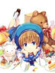 1boy axis_powers_hetalia blonde_hair blue_eyes cake dog eyebrows food hana-tamago hand_on_own_chin hat sailor sailor_hat sealand_(hetalia) stuffed_animal stuffed_toy teddy_bear