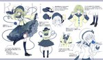 1girl arm_up blue_eyes blue_legwear bonnet character_name character_sheet cierra_(ra-bit) downscaled eyeball floral_print from_behind full_body green_hair hat hat_ribbon kneehighs komeiji_koishi letterboxed long_sleeves looking_at_viewer md5_mismatch outstretched_arm resized ribbon shirt shoes short_hair skirt standing standing_on_one_leg string text_focus third_eye touhou translation_request white_background wide_sleeves