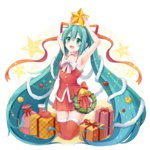 1girl aqua_hair arm_up armpits bell blush christmas christmas_ornaments gift green_eyes hair_ornament hatsune_miku kneeling long_hair open_mouth skirt snowmi solo star thighhighs twintails very_long_hair vocaloid