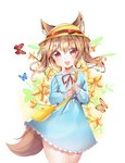 1girl :d animal_ear_fluff animal_ears bag bangs blue_dress blush bow bug butterfly cowboy_shot dress eyebrows_visible_through_hair fang flower hair_between_eyes hat hat_bow head_tilt highres insect kindergarten_bag kindergarten_uniform light_brown_hair long_hair long_sleeves looking_at_viewer miyo_(user_zdsp7735) neck_ribbon open_mouth original puffy_long_sleeves puffy_sleeves red_bow red_ribbon ribbon school_hat short_eyebrows shoulder_bag smile solo tail thick_eyebrows white_background yellow_flower yellow_hat