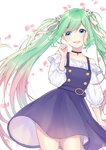 1girl blue_dress choker cowboy_shot dress eyebrows_visible_through_hair flower gradient_hair green_eyes green_hair hair_flower hair_ornament hair_ribbon hatsune_miku highres long_hair mizuiro_32 multicolored_hair nail_polish open_mouth petals pink_hair ribbon solo twintails very_long_hair vocaloid white_background