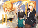 1girl 2boys armor black_hair black_legwear black_pants black_shirt black_skirt blonde_hair blue_eyes breasts cleavage collarbone darkness darkness_(konosuba) eyebrows_visible_through_hair floating_hair hair_between_eyes hair_ornament highres holding kneeling kono_subarashii_sekai_ni_shukufuku_wo! large_breasts long_hair miniskirt mishima_kurone multiple_boys neckerchief novel_illustration official_art pants pantyhose pencil_skirt ponytail shirt short_hair skirt smile spaulders standing translation_request very_long_hair white_neckwear white_shirt