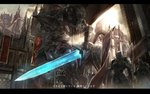 3boys armor armored_core banner building castle centaur chest_plate city cloud cloudy_sky commentary_request dark_souls day flag from_below from_software full_armor gauntlets glowing glowing_eyes glowing_sword glowing_weapon grey_sky helmet highres holding holding_flag holding_sword holding_weapon letterboxed light_rays mecha mono_(jdaj) multiple_boys outdoors pauldrons plate_armor sky souls_(from_software) standard_bearer standing sword translation_request weapon