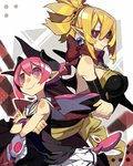 2girls bare_shoulders bat_wings blonde_hair breasts bukurote cleavage crossed_arms demon_girl disgaea horns makai_senki_disgaea_2 makai_senki_disgaea_3 multiple_girls pink_eyes pink_hair pointy_ears ponytail raspberyl red_eyes rozalin short_hair sleeveless slit_pupils smile wings
