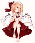 1girl ankle_ribbon bare_legs barefoot black_ribbon blonde_hair feet flandre_scarlet full_body gotoh510 hat hat_ribbon highres looking_at_viewer nail_polish neck_ribbon pointy_ears puffy_short_sleeves puffy_sleeves red_eyes red_nails red_ribbon red_skirt ribbon short_sleeves simple_background sitting skirt solo touhou white_background wings