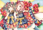 2girls :d \m/ bangs black_bow black_hair blush bow camellia commentary_request floral_print flower flower_knot fur_collar hair_bow hair_flower hair_ornament holding_hands japanese_clothes kimono long_sleeves looking_at_viewer love_live! love_live!_school_idol_project marker_(medium) multiple_girls mutou_(arigatou_banira) nishikino_maki open_mouth pink_flower print_skirt purple_eyes red_bow red_eyes red_flower red_hair ribbon sash skirt smile sunburst sunburst_background tassel traditional_media twintails twitter_username wide_sleeves yazawa_nico yellow_ribbon