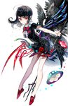 1girl :> asymmetrical_wings bangs bare_arms bare_legs black_dress black_hair black_wings bow bowtie center_frills closed_mouth dress eyelashes feathered_wings full_body highres holding holding_weapon houjuu_nue leaning_forward long_hair looking_at_viewer pointy_ears polearm red_eyes red_footwear red_neckwear rooseputo_02 shoes short_dress short_sleeves simple_background slit_pupils smile snake solo touhou trident ufo weapon white_background wings