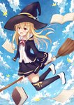 1girl :o bangs belly_peek black_coat black_hat black_legwear black_skirt blonde_hair blue_sky blush book bow bowtie broom cloud cloudy_sky coat collared_shirt day eyebrows_visible_through_hair full_body hair_between_eyes hat highres holding holding_broom hood hood_down legs_up long_hair long_sleeves looking_at_viewer midair miniskirt open_book open_clothes open_coat open_mouth original outdoors paper red_eyes red_neckwear ribbon shirt shoes sidelocks skirt sky solo thighhighs white_footwear white_shirt wide_sleeves witch_hat yang423 yellow_ribbon zettai_ryouiki