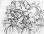 1boy 1girl :3 animal_ears backpack backwards_hat bag baseball_cap bicycle bkub_(style) cat_ears chen crossover earrings explosion golden_boy ground_vehicle hat jewelry monochrome ooe_kintarou panties_(pantsu-pirate) parody riding sketch touhou traditional_media