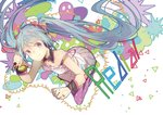 1girl aqua_eyes aqua_hair bow cable chinese_commentary collarbone commentary corded_phone detached_collar dress floating full_body hair_bow hatsune_miku headphones hhhhhoi holding holding_phone leaning_forward long_hair phone purple_legwear redial_(vocaloid) smile solo song_name spaghetti_strap thighhighs triangle twintails very_long_hair vocaloid white_dress wrist_cuffs