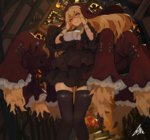 1girl black_legwear blonde_hair commentary_request corset dress frilled_skirt frills glowing glowing_eyes habit lansane long_hair original red_eyes skirt thighhighs zettai_ryouiki