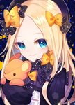 1girl abigail_williams_(fate/grand_order) aya_(aya_op10s) bangs black_bow black_dress black_hat blonde_hair blue_eyes blush bow closed_mouth commentary_request dress eyebrows_visible_through_hair fate/grand_order fate_(series) forehead hair_bow hat long_hair long_sleeves looking_at_viewer object_hug orange_bow parted_bangs polka_dot polka_dot_bow sleeves_past_fingers sleeves_past_wrists smile solo stuffed_animal stuffed_toy teddy_bear upper_body very_long_hair